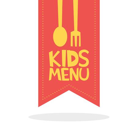 Kids Menu red label template vector illustration Illustration