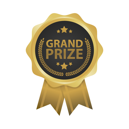 grand sale button: Grand prize win gold badges vector illustration Illustration