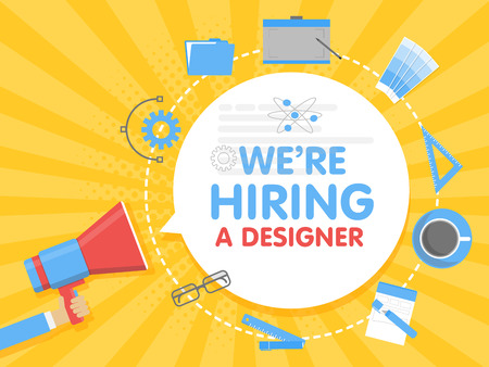 We hire a designer. Megaphone concept vector illustration. Banner template, ads, search for employees, hiring graphick artist for work