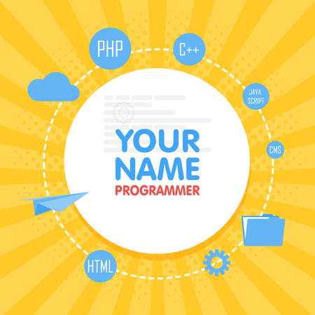 originator: Social network programmer avatar. Place for your name. Template of the developer portfolio, banners, announcements, web sites and other projects. Vector Illustration
