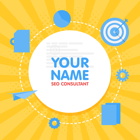 Social network SEO optimization consultant avatar. Place for your name. Template of the developer portfolio, banners, announcements, web sites and other projects. Vector illustration Ilustração