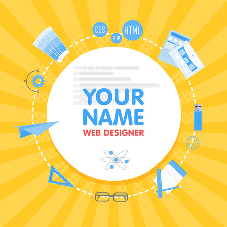 Social network web designer avatar. Place for your name. Template of the portfolio, banners, announcements, web sites and other projects. Vector illustration