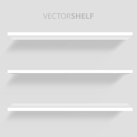 furniture store: White Shelf in gray background vector illustration