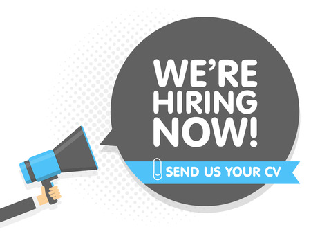 Hand holding Megaphone. Speech sign text we are hiring now. Send us your cv. Vector illustration Illustration