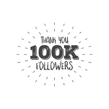 one hundred: Thank you letters for follower vector illustration