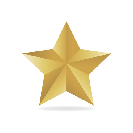 Gold metall star vector illustration. Award 3d shape Illustration