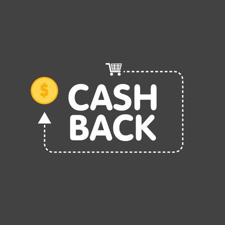 キャッシュ バック コンセプト ロゴ ベクトル図コインと矢印  イラスト・ベクター素材