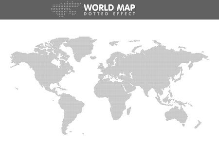 Dotted gray world map. Small dot Vector illustration. Illustration