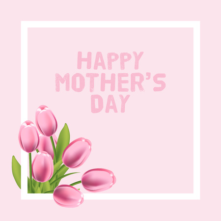 Happy Mothers Day vector card illustration with pink tulip. Vettoriali