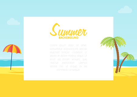 Summer tropical sea beach background with space for text vector illustration.