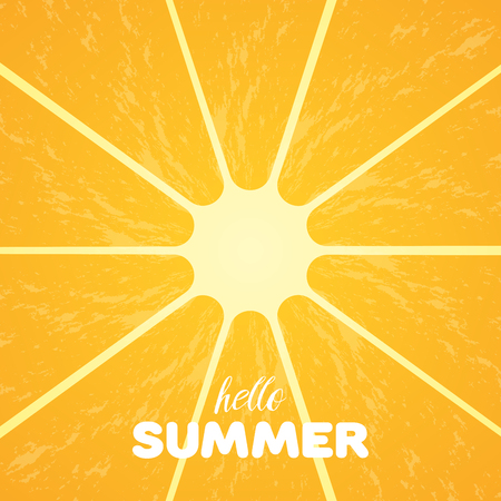 Orange pulp and hello summer text. Illustration