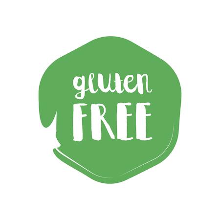 celiac: Gluten Free circle letters in grunge round background. Vector logo illustration.