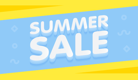 Summer Sale yellow and blue banner vector illustration.