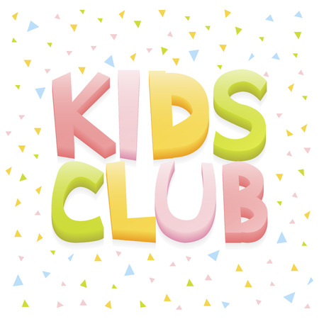 land development: Kids club letter sign poster vector illustration.