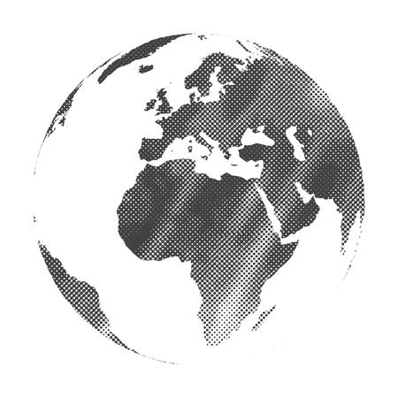 Grunge halftone texture gray world map globe vector illustration.
