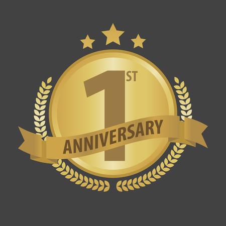 First 1 year anniversary golden badge and ribbon vector illustration. Illustration