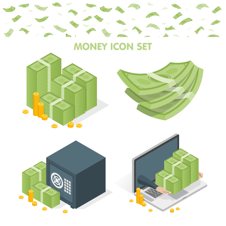 Vector illustration of money stacks and safe and laptop icons isolated on white.