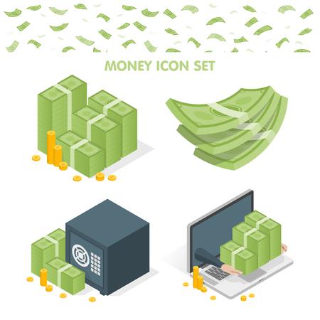 Vektor-Illustration von Geld-Stacks und Safe und Laptop-Icons isoliert auf weiß. Vektorgrafik