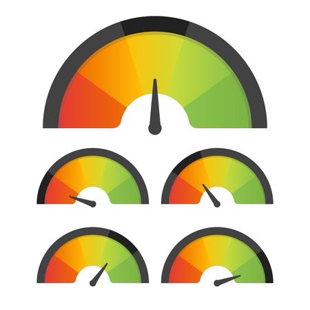 Klanttevredenheid meter snelheidsmeter set. Vector illustratie.
