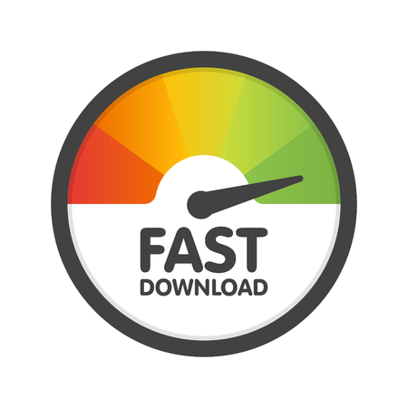 Round Speedometer fast download speed. Vector illustration template.