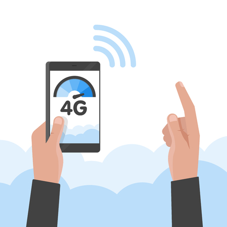Hand holding phone fast 4g internet technology. Smartphone screen vector illustration.