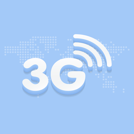 3G fast internet 3d sign in blue background and dotted world map vector illustration.