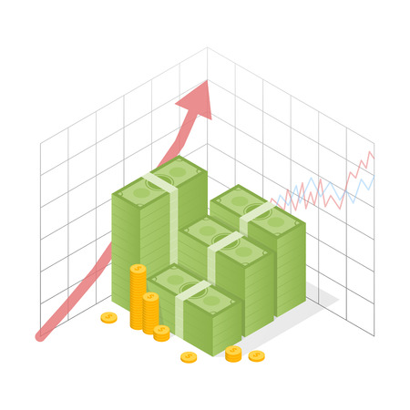 Isometric icon money growth. Pile dollar and gold coins with up arrow. Vector illustration. Illustration