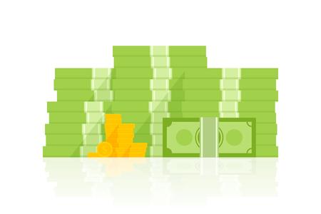 Big pile of money vector illustration, heap of cash flat cartoon style.