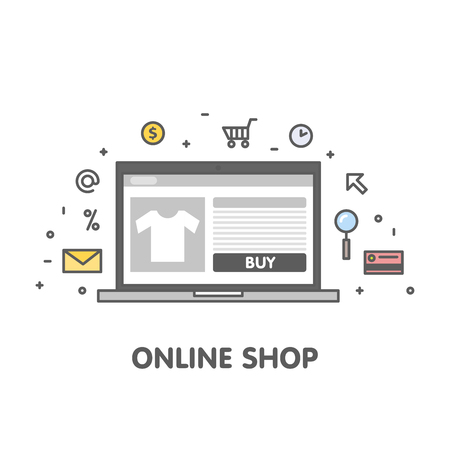 Online shop concept line illustration. Laptop with web page screen and linear icon vector.