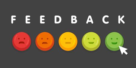 Feedback emoticon emoji glimlach pictogram knoppen met muis klik vector illustratie. Stock Illustratie