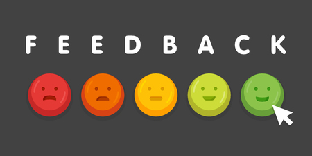 Feedback emoticon emoji smile icon buttons with mouse click vector illustration.