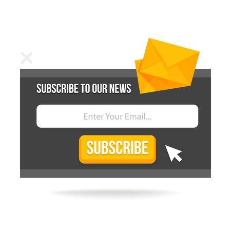 귀하의 웹 사이트 및 블로그에 대한 최신 팝업 양식을 구독하십시오. 벡터 그림 템플릿입니다.