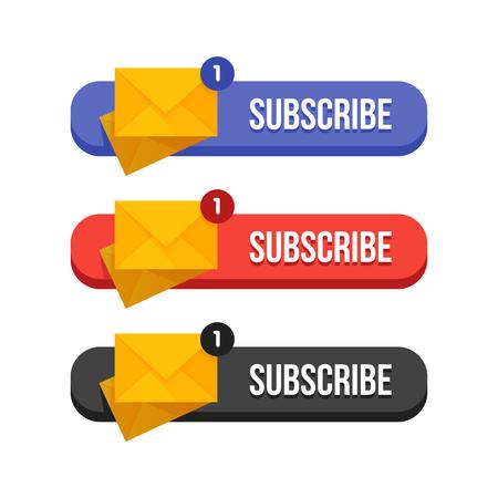Moderne platte abonneren butoons instellen vectorillustratie. Vector Illustratie