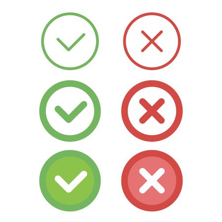 refuse: Check mark line icons set. Vector illustration. Illustration