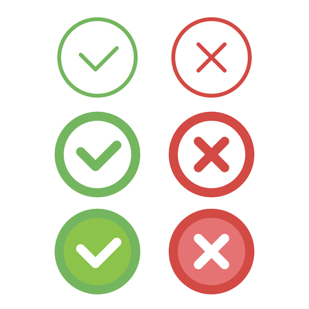 Check mark line icons set. Vector illustration. Vettoriali