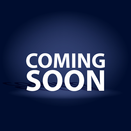 Coming Soon dark realistic poster. Promotion flyer template vector illustration.