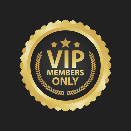 Vip Members Only premium golden badges, Gold round label vector illustration. Ilustração