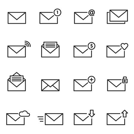 love of money: Email envelope line icon set.