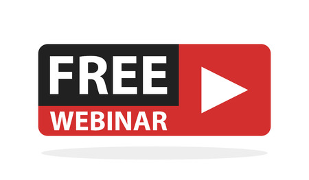 rectangle button: Free webinar play online button vector illustration.
