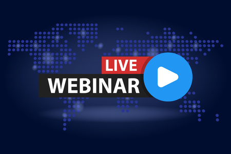 Free webinar play online button in blue dark world map background vector illustration. Иллюстрация