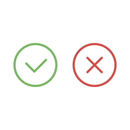 Check mark green and red line icons. Vector illustration.