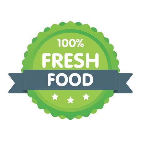 Modern green eco badge. 100 percent fresh food label. Sticker vector illustration. Illustration
