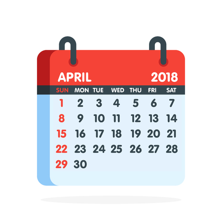 Calendar for 2018 year. Full month of April icon. Vector illustration.