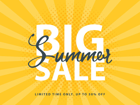 Big Summer Sale sign with retro pop art halftone background. Vector web banner template illustration. Illustration