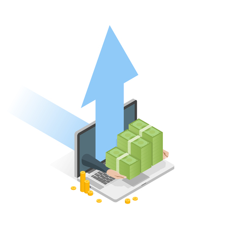 Hand holding money stack. Isometric laptop with arrow up vector illustration.