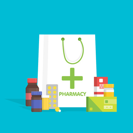 Flat style white shopping bag with different medical pills and bottles, healthcare pharmacy, drug store. Vector illustration.