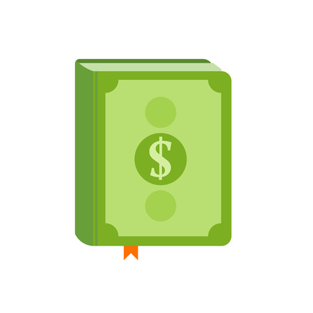Book with symbol of money on the cover. Best seller, how to earn concept. Flat vector illustration.