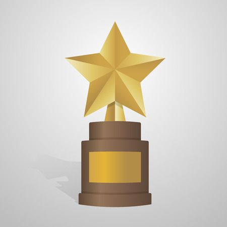 celebrities: Golden star award on brown base. Gold Trophy vector illustration. Illustration
