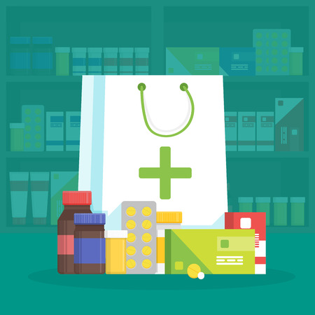 store shelf: Modern interior pharmacy and drugstore. Sale of vitamins and medications. Shopping bag with different medical pills and bottles. Vector simple illustration.