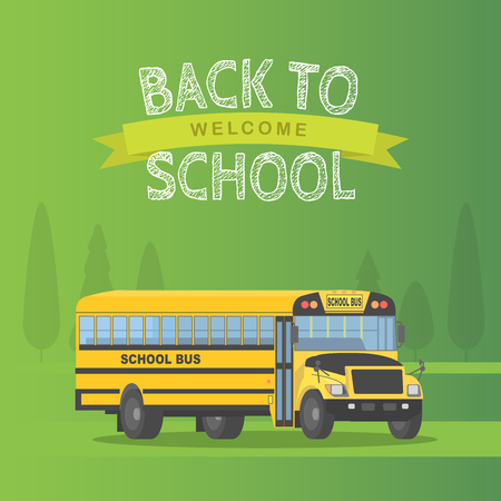 Vector amarillo schoolbus aislado sobre fondo verde. Volver a la escuela signo ilustración vectorial.